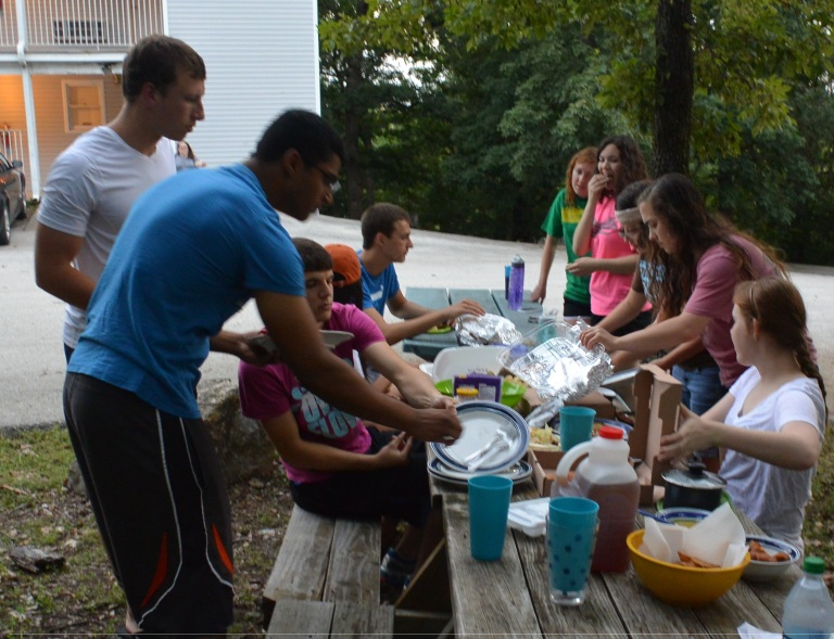 potluck at the picnic tables