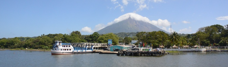 The port of Moyogalpa overshadowed by Volcan Concepcion on the island of Ometepe