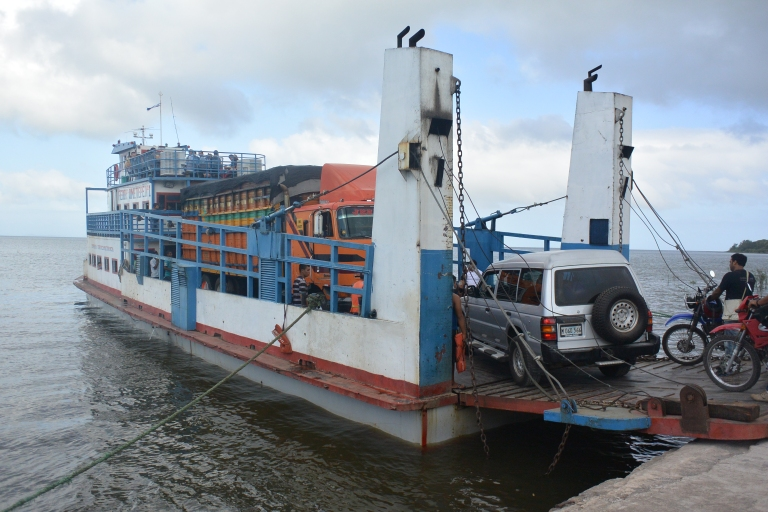 A ferry from Ometepe being loaded with all kinds of things, vehicles, and people -- just another day in Nicaragua