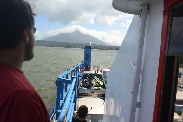 Leaving Ometepe behind on the ferry back to San Joge.  Alex is at left and James on the steps below by our little car jammed in the near corner of the aft deck
