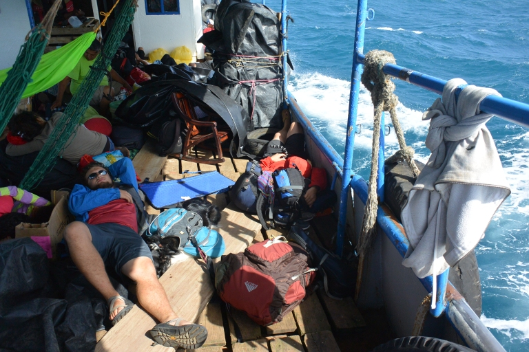 Cargo and passengers strewn across the deck of our